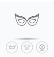 Mask 3d glasses and column icons vector image vector image