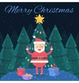 Merry Christmas Christmas card Santa Claus with vector image