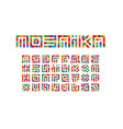 Mosaic letters set colored stickers style
