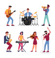 musical band singer drum set player live music vector image