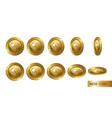 nem set of realistic 3d gold crypto coins flip vector image vector image