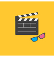 Open movie clapper board and 3D glasses template vector image vector image