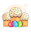 orthodox easter with eggs and cakes postcard vector image