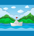 paper boat floating along river vector image vector image