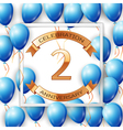 Realistic blue balloons with ribbon in centre vector image vector image