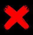 red grunge brush stroke cross no decline sign mark vector image