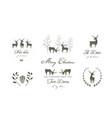 reindeers or deers silhouettes logo design vector image