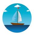 sail boat in the sea icon vector image