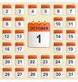 Set of icons for the calendar in October vector image vector image