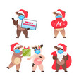 set oxes in santa hats celebrating happy new year vector image