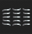 set silver ribbons on black vector image