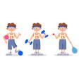 sport ball racket boy vector image