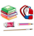 Sticker set with school equipment vector image vector image