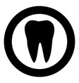 tooth the black color icon in circle or round vector image vector image