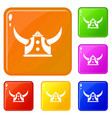 viking helmet icons set color vector image vector image