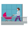 woman with pram in balcony quarantine activities vector image vector image