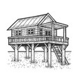wooden stilt house above water sketch vector image