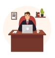 Businessman Working at Office Table vector image