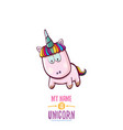 funny cartoon cute pink fairy unicorn vector image