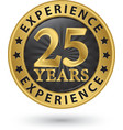 25 years experience gold label vector image vector image