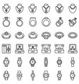 accessories and jewelry icon set line style vector image vector image