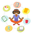 business woman meditating in yoga lotus position vector image