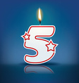 Candle number 5 with flame vector image