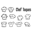 Chef traditional toques caps and hats vector image