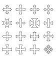 christian crosses icons set outline vector image vector image