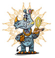 cute rhinoceros standing with sigara vector image vector image