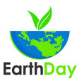 earth day text and world flat background vector image vector image