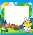 easter frame with cute chicken vector image