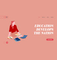 education in university or college website landing vector image