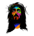 face of jesus in pop art style vector image vector image