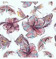 fashion floral pattern from hibiscus flowers vector image vector image