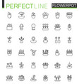 flowers in pots thin line web icons set outline vector image vector image