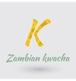 Golden Symbol of Zambian Kwacha vector image vector image