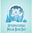 greeting card polar bear day vector image