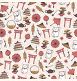 hand drawn asian seamless pattern with umbrellas vector image vector image