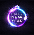 happy new year dark background festive neon sign vector image vector image