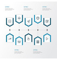 interface outline icons set collection of trend vector image vector image