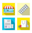 isolated object of pharmacy and hospital symbol vector image vector image