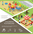 isometric children playground poster vector image vector image