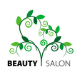 Logo tree heart of green leaves in the beauty salo vector image