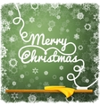 Merry christmas message written on the green vector image