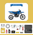 motorcycle with parts in flat style vector image vector image