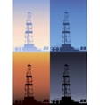Oil rig at different times of the day Detailed vector image vector image