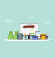 online car shopping e-commerce technology with vector image vector image