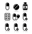 Pills medication icons set
