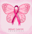 Pink butterfly with ribbon for breast cancer vector image vector image